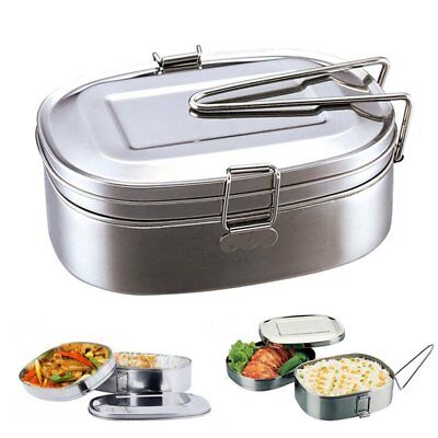 Double layer Stainless Steel Picnic Lunch Box Case Bento Food Container