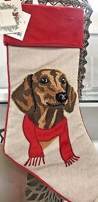"""21"""" Dachshund Dog Embroidered Holiday Christmas Stocking with Red Velvet Accents"""