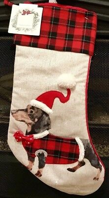 """21"""" Dachshund Sausage Dog Holiday Christmas Stocking with Plaid & Velvet Accents"""
