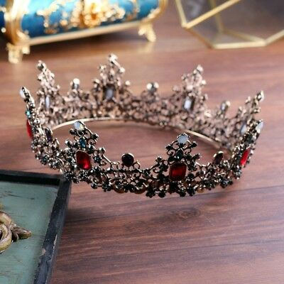"""Luxury Queen Red Black Crystal Crown Wedding Bridal Party Pageant Prom 5.8"""" Wide"""