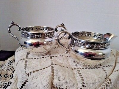 Gorham Sterling Silver Strasbourg Sugar and Creamer, 1132 and 1133