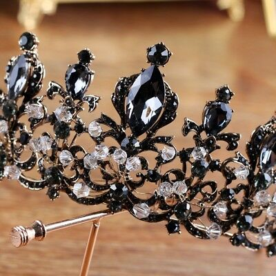 Black Gray Big Crystal 6cm High Adult Wedding Party Pageant Prom Tiara Crown
