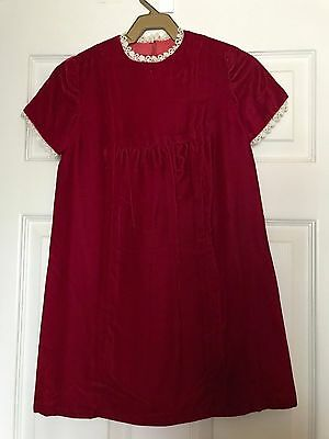 Vintage 60's Girl's Dark Red Velvet  Dress Bust 28 Approx size 6 - 8