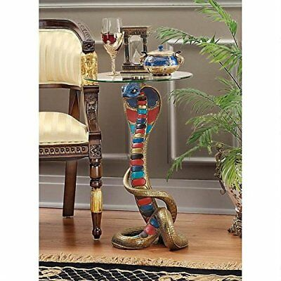 Egyptian Antiques Style Cobra Snake Glass Top Side Sculpture Table Egypt Decor