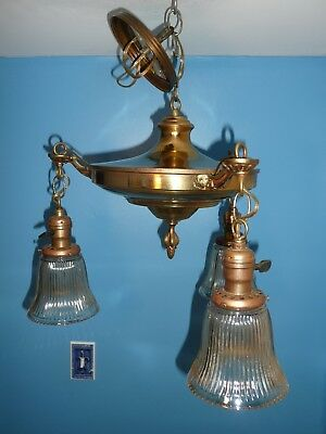 Antique BRASS Pan Ceiling Light Chandelier Vintage Art Deco Nouveau Victorian