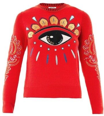 bd06f37f09d KENZO RED LOTUS Eye Embroidered Sweater Size Large New without tag ...