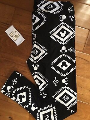 55d2cc43178353 Lularoe Disney Minnie Mouse Black White Aztec Geometric Print Leggings TC  Rare