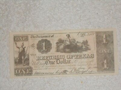 """One Dollar Bill,""""The Republic of Texas"""",No.2150,In good condition."""