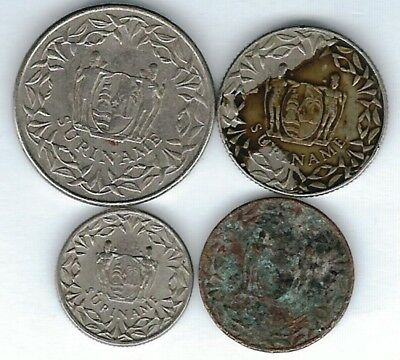 4 different world coins from SURINAM