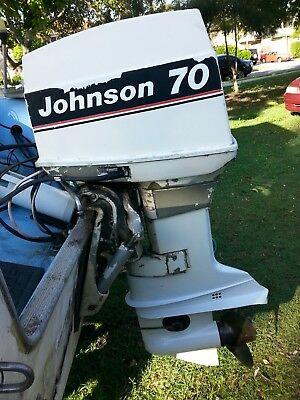 70 hp Johnson outboard stainless prop with remote control starts easy