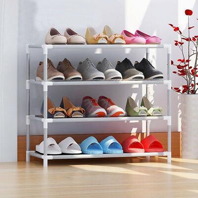 2-10 Layers Stackable Storage Shoe Rack Cabinet Organiser Stainless Steel Canvas