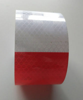 2pcs 5*30CM Red and White Safety Tape Truck Warning Night Reflective Tape