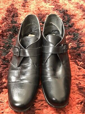 Vintage 1990s Goth Look Black Shoes With Buckle UK 6.5 - Steampunk Witch Gothic