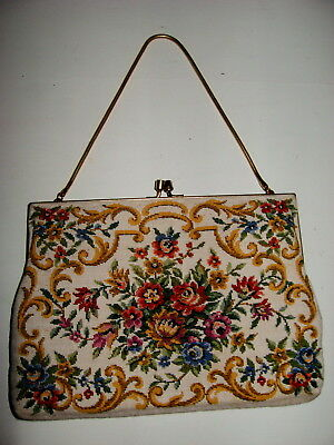 Rare Beautiful Vintage English 1950's Petit Point Evening Bag Collectable