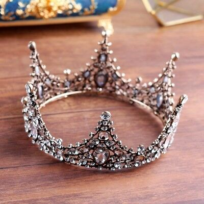 Luxury Full Crystal Gold Adult Wedding Bridal Party Pageant Prom Round Crown