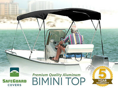 "NEW 3 BOW BLACK BIMINI BOAT COVER TOP WITH BOOT 6'L X 46""H x 91""-96""W"
