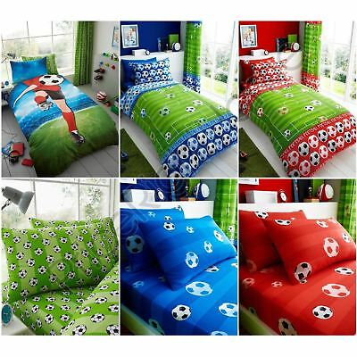 Football Goal Single Duvet Cover, Pillowcases, Fitted Sheet - Blue Green Red