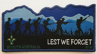 "ANZAC ""Lest We Forget"" Commemorative Scout Badge, WW1 Silhouettes of diggers"