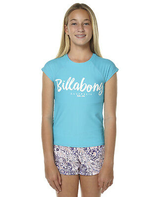 Bnwt Billabong Kids Girls Riptide Short Sleeve Wetshirt Rashie (10) Capri