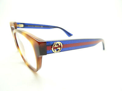 NEW Gucci Havana/Blue Red GG 0040 O 003,GLASSES,FRAMES