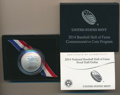 United States 2014 Baseball Hall of Fame Domed Silver 50c, Cased w/ Certificate