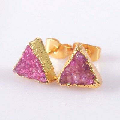 9mm Triangle Hot Pink Agate Druzy Geode Stud Earrings Gold Plated T050123