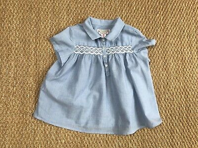 BONPOINT Brode main blue top with white smocking 6Y