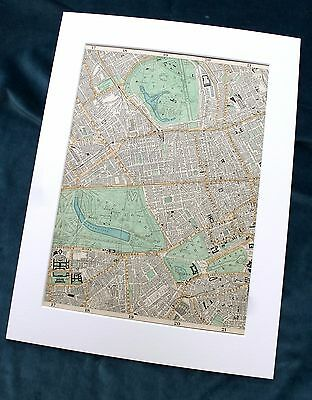 LONDON, 1896 - WESTMINSTER , BROMPTON & MARYLEBONE - Mounted Antique Map, Bacon.