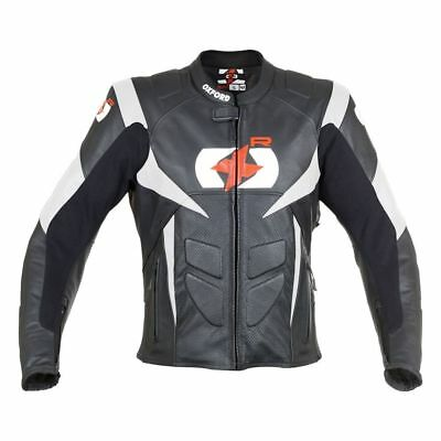 Oxford-RP-S-Leather-Bk-Wh-Motorcycle-Jacket CE Armoured