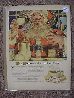 1940 Pan American Coffee Large Full Page Color Ad Santa Claus Free Shipping