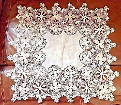 """Elaborate Antique lace Dollie Tenerife wheels and hairpin lace 'as is' 21"""" sq"""