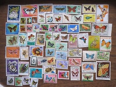 65  BUTTERFLIES & INSECTS  on  STAMPS