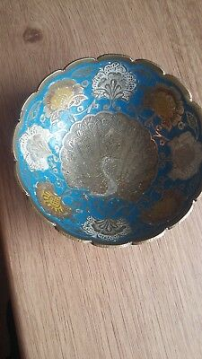 Lovely Small Vintage Enamelled Bowl-Peacock