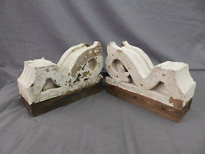Antique Pair Corbels Wood Small Victorian Architectural Shabby Vtg Chic 510-17P