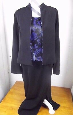 NWOT Miss Dorby Womens sz 12 Black and Royal 3 pc Formal Suit Jacket Skirt Tank