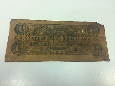 State Of Alabama $100 Dollar Bill Colonial Note REPRODUCTION