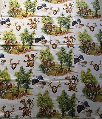 Quality French Vintage Fabric Curtain Panel Rare Hunting Design