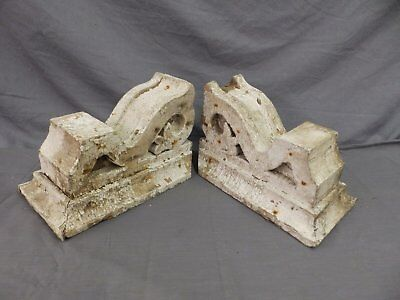 Antique Pair Corbels Wood Small Victorian Architectural Shabby Vtg Chic 517-17P