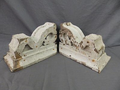 Antique Pair Corbels Wood Small Victorian Architectural Shabby Vtg Chic 519-17P
