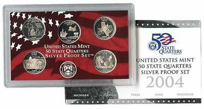 2004 S US Mint Silver Proof State Quarter 25c Coin Set