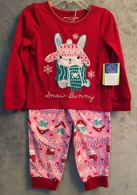 """NWT Peas & Carrots Toddler Girl's PJ's  Size 2T FLAME RESISTANT """"Snow Bunny"""""""