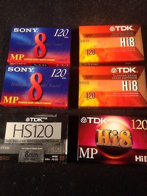 Lot of 6 SEALED TDK Sony METAL Hi8 MP120 min 8mm Camcorder Video Tapes X234