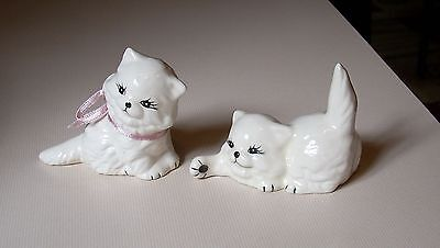 CUTE Vintage White Kitten Cat Figurines with Pink Ribbon Black Accents Ceramic