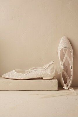 BHLDN wedding shoeMarielena Lace Flats Ballet Slipper 9 White Lace Retail $260