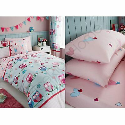 Owls Hearts Pink Blue Girls Single Duvet Cover Set, Fitted Sheet, Pillowcases