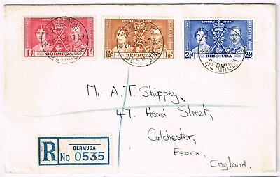 1937 Coronation set on registered cover to UK., Superb