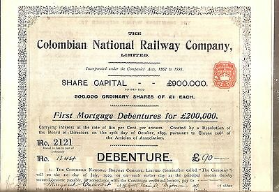 1910 UNCANCELED COLUMBIAN NATIONAL RAILWAY Co LTD 6% Bond RARE 1st MORTGAGE BOND