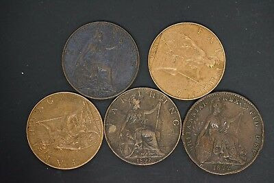 Great Britain lot of 5 AU/UNC farthing owner paid $35.00cad (d003)