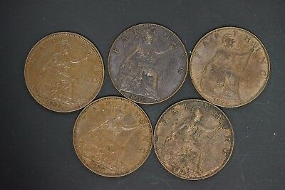 Great Britain lot of 5 EF/AU farthing owner paid $46.00cad (d005)