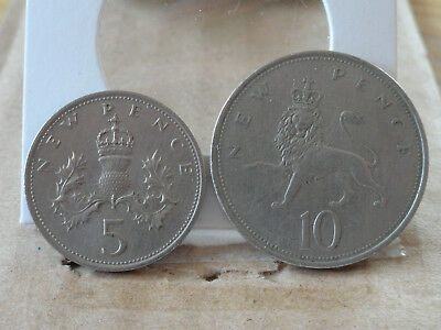 1970 5 p & 1968 10 p -- United Kingdom -- (2 Coin Lot)